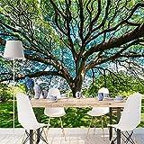 XXPFF Photo Personnalisée 3D Papier Peint Dominant l'arbre Vert Paysage Salon Canapé Chambre À Coucher Télévision Fond Mur Revêtement Mural Papier Peint 3D , 400Cm (L) X 250Cm (H)