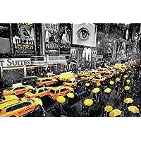 GB eye Ltd PH0498 - Póster (tamaño grande), diseño de taxis en Nueva York, color blanco, negro y amarillo