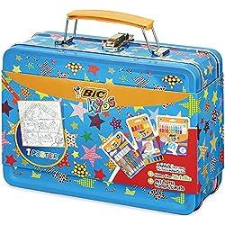 BIC Kids Maletín de colores - 12 Ceras Blandas para Colorear /12 rotuladores de colores Magic /6 Tubos de Pegamento con Purpurina y 1 Póster para Colorear