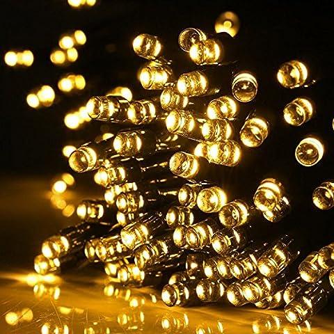 Aglaia LED Solar Lichterkette mit 100 LEDs, 10m Warmweiß Weihnachten Decoration Licht, 7 Modus Außen Wasserdicht für Garten, Terrasse, Party, Hochzeit, Hof usw