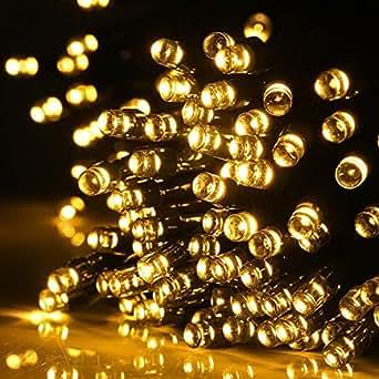 Aglaia Guirlande LED Lumineuse Solaire avec 100 LED, 10M Guirlande Solaire Etanche de Blanc Chaud avec 7 Modes d'Eclairage, Idéal pour Fête Soirée Décoration Patio Cour