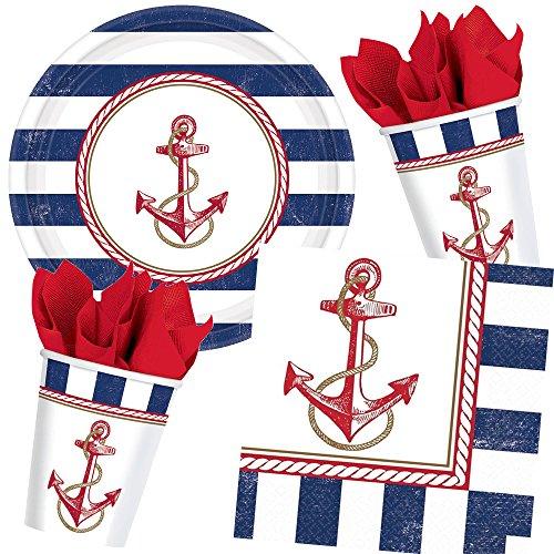 33-teiliges Partyset * SEEMANN * mit Teller + Becher + Servietten + Deko // Kindergeburtstag Kinder Set Geburtstag Party Motto Luftballons Seefahrer Matrose Segeln Sailor