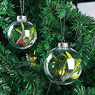 KimcHisxXv Bola De Navidad, Deco De Navidad Bola De Plástico Transparente Bolas De Navidad Decoraciones De árboles De Navidad para Colgar Decoración De Bricolaje, 6Cm / 8Cm / 10Cm / 13Cm