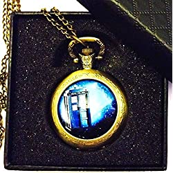Doctor Who - The Tardis Quartz Pocket Watch Necklace - Antique Bronze Effect - GIFT BOXED WITH FREE SPARE BATTERY
