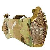 haoYK Schutzmaske, halbe Gesichtsmaske, faltbar, Metall und Netzgewebe, größenverstellbar, taktische Maske inkl. Ohrenschutz für Airsoft- und andere Schützen, Jäger,...