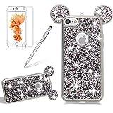 Silikon Glitzer Hülle für iPhone 5S, Girlyard Plating Weiche TPU Strass Maus Ohren Bling Backcover, 3D Kreativ Design Schutzhülle Flexibel Rubber Etui und Ultra Slim Case für iPhone 5 5S SE - Silber
