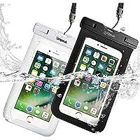 """(IPX8 Certificato )(Confezione da 2) Custodia Impermeabile Subacquea (30 metri sott'acqua) Universale per Smartphone 5.8"""" Massimo ,Simpeak Borsa Waterproof Cover Case Impermeabile per iPhone 7/ 7 Plus/ SE / 6s / 6s Plus / 6 / 6 Plus / 5s / 5c / 5, Samsung S8 / S7 / S7 edge / S6 / S5 ed altri Smartphone, Nero+Bianco"""