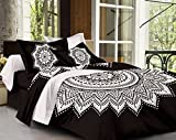 SheetKart Traditional Mandala Cotton Double Bedsheet with 2 Pillow Covers - Black and White