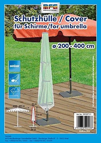 MFG Reißfeste XXL Schutzhülle für einen Gartenschirm bis 400 cm, transparent, 40x215x30 cm, in praktischer Tragetasche