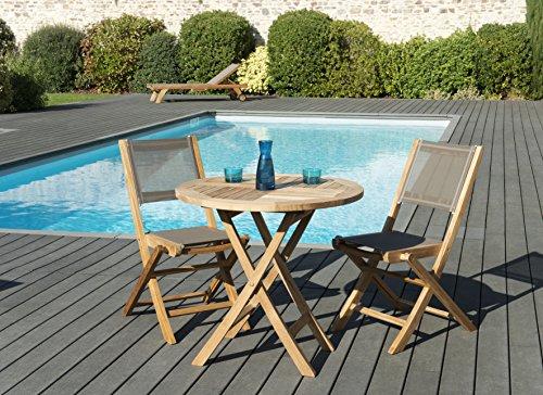 MACABANE 509606 Salon de jardincouleur Naturel/Taupe en Teck Textilène Dimension