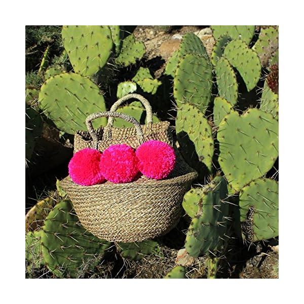 BrunnaCo Shocking Pink Beach Bag / Pom pom beach bag / Boho Chic Beach Bag / Striped Bag / Summer Bag / Belly Basket / Panier Boule / French Bag - handmade-bags