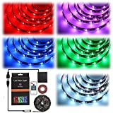 [Upgraded!] Led Strip Light Geepkeep Waterproof Flexible Led Strip 5050 SMD RGB Led Strips Lights with usb, RF Wireless Remote Battery Powered LED Strip LightS TV Lighting Decoration(2M)
