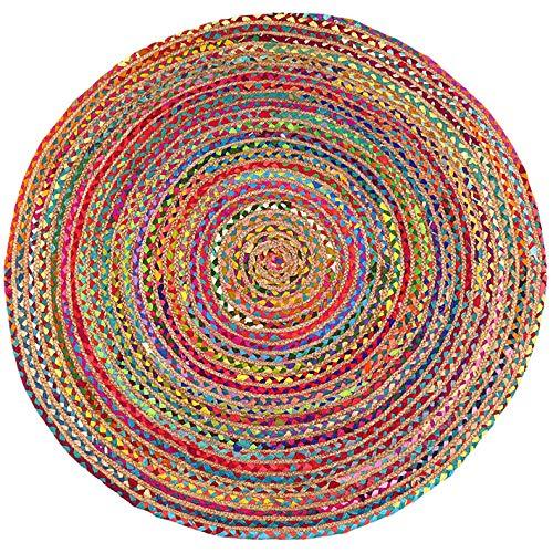 Eyes of India - 4 to 6 ft Rund Bunt Natürliche Jute Chindi Sisal Gewebt Bereich Geflochten Teppich Boho Unkonventionell Indisch - Jute Mehrfarbig, 8 ft. (244 cm) Diameter (8 Ft Runde Bereich Teppich)
