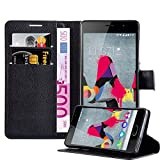 Cadorabo Hülle für WIKO Slide 2 - Hülle in Phantom SCHWARZ – Handyhülle mit Kartenfach und Standfunktion - Case Cover Schutzhülle Etui Tasche Book Klapp Style