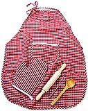 Kinder-Küche Back-Set Backrolle Schnee-Besen Koch-Löffel Handschuhe Schürze Kinder-Spielzeug Spiel-Küche