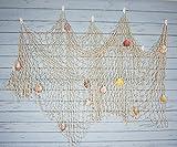 Bilipala Rustikale Deko Fischernetz Wand Dekor mit Muscheln, Maritime Stil Wandbehänge Ornaments, cremige Weiß