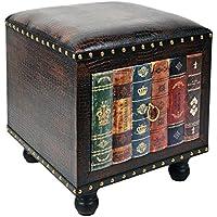 ts-ideen Taburete banqueta asiento sofá banco de corredor estilo de vintage antiguo libros rustico rojo con un cajón