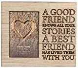 Cornice portafoto in legno,con scritta intagliata, tema:amicizia, 4x 6