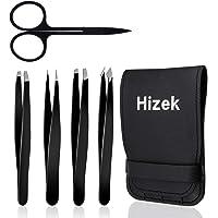 Hizek - Set di pinzette professionali 5 in 1, in acciaio INOX, con custodia da viaggio, per sopracciglia e schegge