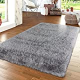 TT Home Moderner Wohnzimmer Hochflor Teppich Shaggy Einfarbig Pastellfarben In Grau, Größe:80x150 cm