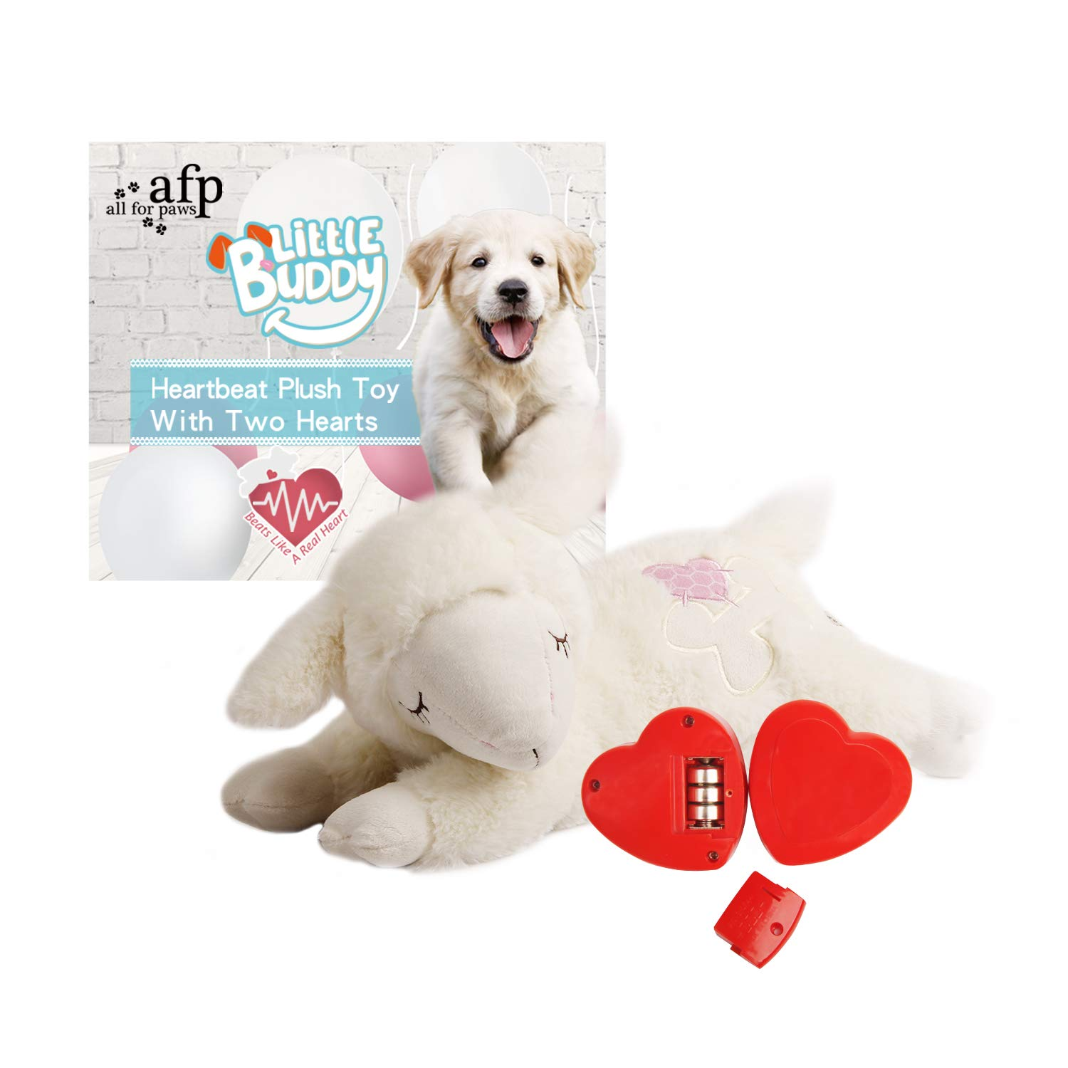 ALL FOR PAWS AFP Snuggle Sheep Pet Behavioral Aid Toy Plush Toy With TWO HEARTBEAT, White