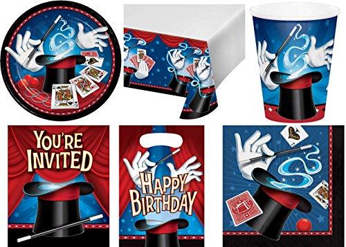 49-teiliges Party Set Zauberer Kindergeburtstag Geburtstag Party Fete Feier 8 Teller, 8 Becher, 16 Servietten, 8 Einladungskarten, 8 Partytüten, Tischdecke
