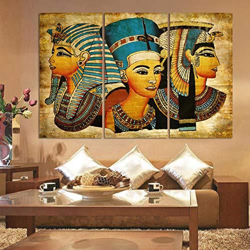 Leinwand Gemälde Leinwanddrucke Druck Auf Leinwand Kunstwerk Wandkunst Ölgemälde Ägyptisches Pharao Kostüm Für Zuhause Büro Wohnzimmer Home Dekoration 50x70cmx3pcs(kein Rahmen)