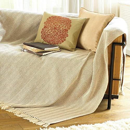 COMO Überwurf Decke für Stuhl/Bett oder Sofa, 100% Baumwolle, beige, 170x 200cm