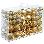 BAKAJI Confezione 100 Palline di Natale Colore Oro Diametro 3/4/6 cm Addobbi e Decorazioni per Albero di Natale