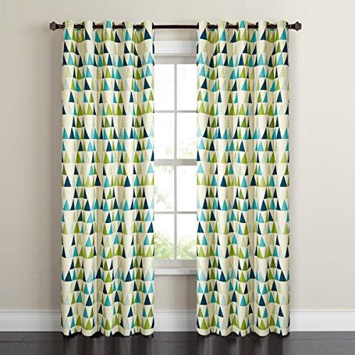 GWELL Geometrie Gardinen Verdunkelungsvorhang mit Ösen Thermogardine Blickdicht Vorhänge für Wohnzimmer Schlafzimmer Kinderzimmer 1er-Pack grün 140x225cm