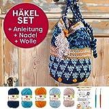 Myboshi Häkeltasche Shunan, Häkel Set: 2 Häkelnadel + Häkelanleitung + 5x Häkel-Wolle + selfmade Label, Farben (Marine, Hautfarbe, Aprikose, Aquamarin, Himmelblau, mit Häkelnadeln)
