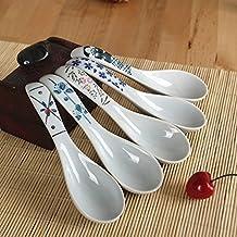 Juego de cucharas de sopa de cerámica DEBON pintadas a mano con flores de porcelana china