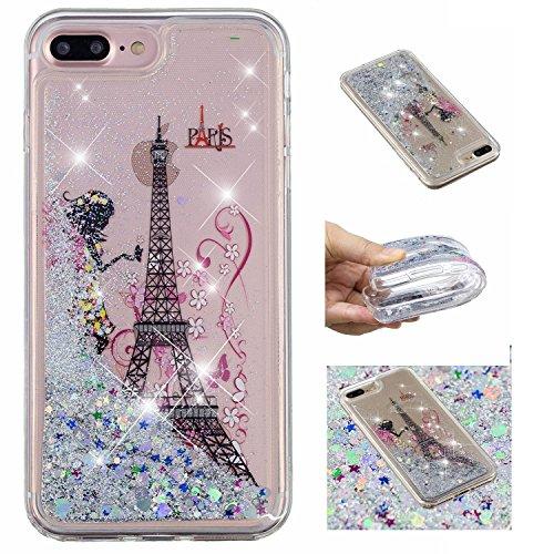üssigkeit Hülle für iPhone 8 Plus/iPhone 7 Plus,Mädchen Turm kreativ 3D Gemalt Muster Handyhülle,Bling Treibsand Liebe Herz Fließend Weich TPU Schutzhülle ()