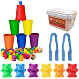 BYBOT Comptage des Ours, Comptage et Tri Jouets 71 pcs Ours avec des Tasses Assorties Jeu d'enfant pour l'apprentissage Présc