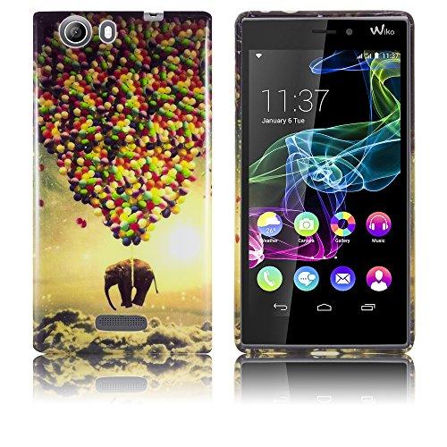 Wiko Ridge 4G Silikon-Hülle Fliegender Elefant (NICHT FÜR RIDGE FAB) weiche Tasche Cover Case Bumper Etui Flip smartphone handy backcover thematys®