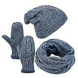 Vbiger Wintermütze Herren Mütze Winter Handschuhe Beanie Strickmütze Winterschal Warme Mützeset