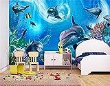 Yosot 3D Tapeten Individuelle Fototapete Kinderzimmer Wandbild Unterwasserwelt Delfin 3D Malerei Sofa Tv Hintergrundbild Für Wände 3D-400Cmx280Cm