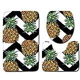 DROHE-Q Badezimmer Teppich 3-teiliges Set, Moderne Ananas Gelb Reinigung Haushalt Festliche Boden Dekoration-45 * 75cm