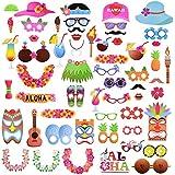 Abseed 60 Hawaiian Photo Booth Props Kit,Fotorequisiten & Fotoaccessoires für witzige & lustige Bilder Für Urlaub, Beach Pool Parties, Geburtstage Party Dekoration