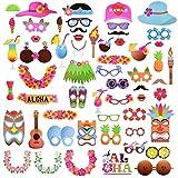 Abseed 60 Hawaiian Photo Booth Props Kit,Fotorequisiten & Fotoaccessoires für witzige & lustige Bilder Für Urlaub, Beach Pool Parties, Geburtstage Party Dekoration (60pcs)