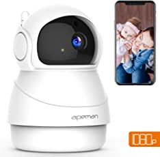 APEMAN 1080P Telecamera di Sorveglianza wireless, IP Camera Wifi ,Visione Notturna a Infrarossi, Audio Bidirezionale, Baby Per Monitor, Sensore di Movimento Pan/Tilt, Compatibile iOS/Android/PC Windows