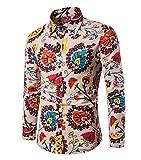 Haroty Herren Hemd Slim Fit Langarm Oversize Männer Ethno Print Bunt Shirt Langarmhemd (XL, CS 11)