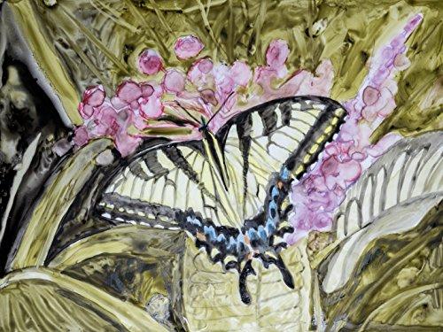 Artland Qualitätsbilder I Bild auf Leinwand Leinwandbilder Wandbilder 80 x 60 cm Tiere Insekten Schmetterling Malerei Ocker C2DS Schmetterling in der Natur II