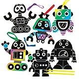 Baker Ross Kit de Decoraciones de Robots para rascar Que los Niños Pueden Diseñar, Crear y exhibir - Kit de Manualidades Creativas para Niños (Pack DE 10).