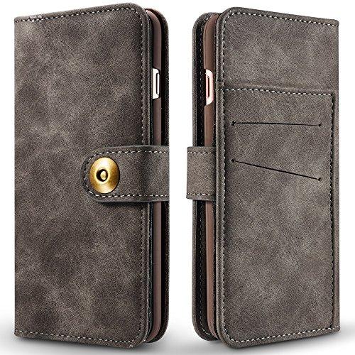Retro Style abnehmbare magnetische Leder Tasche mit großem Capard Card Cash Slots und Secure Niet Gürtelschnalle für iPhone 6 und 6s ( Color : Red ) Gray