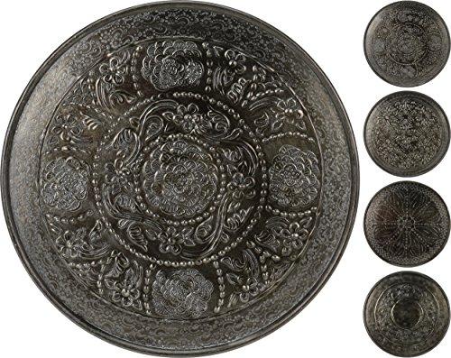 CHICCIE Assiette décorative au Design Oriental Gris métallisé 38 cm