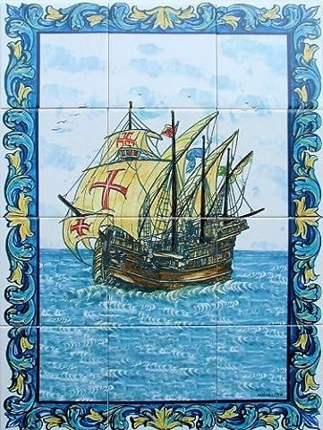 Faience Azul - FRESQUE MURALE PEINTE de 60x45cm (12 carreaux