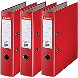 Esselte, Essentials, Pack de 3 Classeurs à levier, Rouge, Dos 75mm, A4, PP, 624292