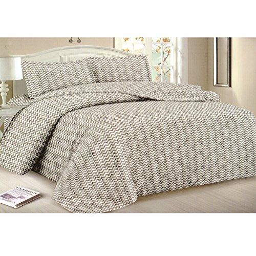Todd Bettwäsche Queen Tagesdecke Quilt 3-teilig weich Gesteppte Betten–Luxuriöse bequem Mikrofaser Decke + 2kissenrollen (weiß Zigzag) (Hotel Bettbezug Grand)