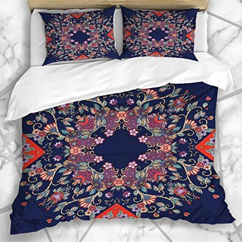 Soefipok Bettbezug-Sets Muster Russian Floral Bandana Nature Bird Mikrofaser Bettwäsche mit 2 Kissenbezügen (Bandana Bird)
